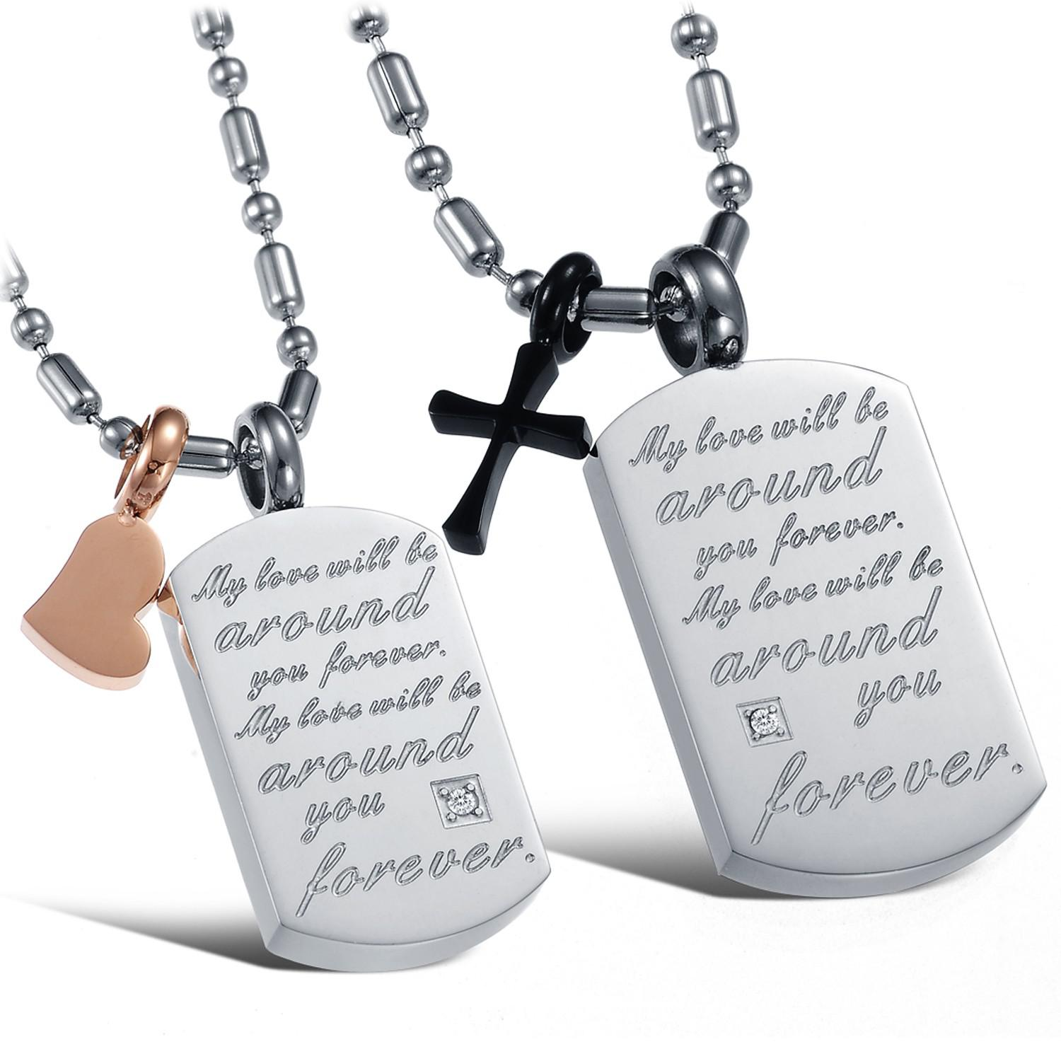 Wholesale Love Declaration Couple Pendant Necklace Heart&Cross ...