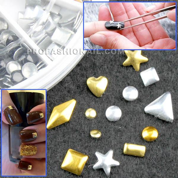 Gold amp silver nail art metal studs rhinestone tips 3d free shipping gold silver nail art metal studs rhinestone tips 3d decoration pre disign diy na046 prinsesfo Images