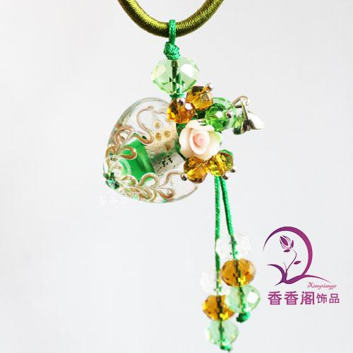 Collana di profumo in vetro di Murano Cuore con fiore DIFFUSORE IN VETRO DI MURANO COLLANA DI OLIO ESSENZIALE