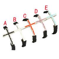 ingrosso fascino br-Braccialetto a croce, bracciali lavorati a maglia, gioielli con strass 5 colori, 50 pezzi / lotto BR-1340