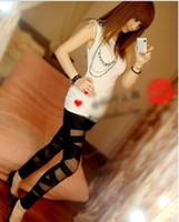 Wholesale Silk Stockings For Ladies - Personality Women Leggings Silk Stocking For Lady Leggings Pants Tied Winding Cross Mesh Leggings