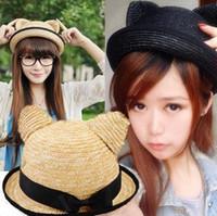 Wholesale Womens Cat Hat - 2016 womens straw hats stingy brim hats topee hat cat hats bonnets summer caps casquette sports caps