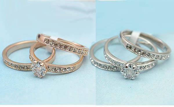 Monili delle donne dell'anello di barretta del cristallo anelli placcati oro 18k, tre cerchi possono essere usati separatamente cerchio di cerimonia nuziale di modo