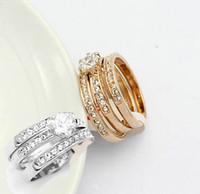 18k gold used wedding rings großhandel-Fingerring-Frauenschmucksachen 2set Kristall, 18k Gold überzogene Ringe, drei Kreise können separat verwendet werden, um Hochzeitskreis zu heiraten