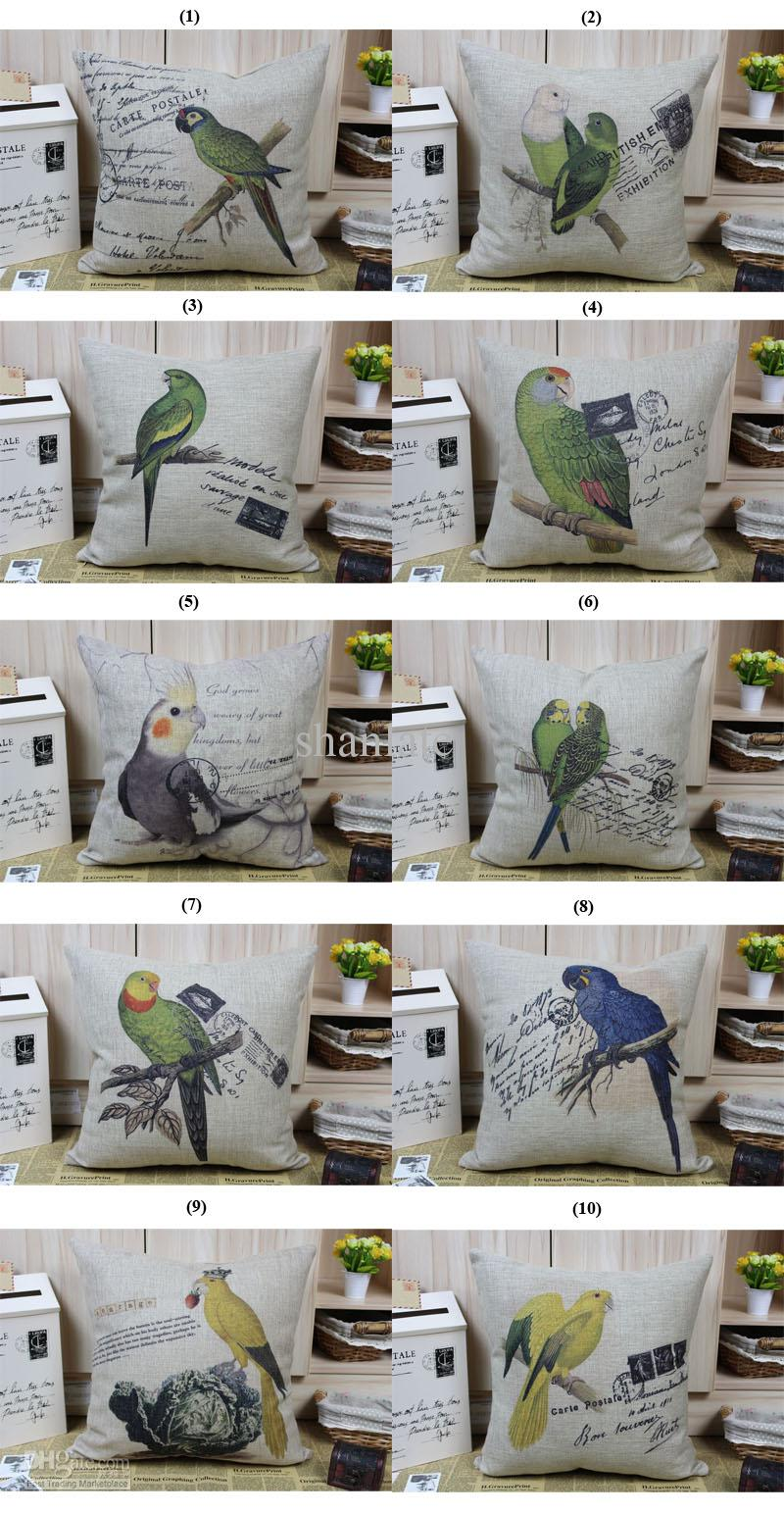Novelty Gift Retro Bird Parrot Tree Branch Post Stamp Pattern Linen Cushion Cover Home Car Decorative Throw Pillow Case Hand Made