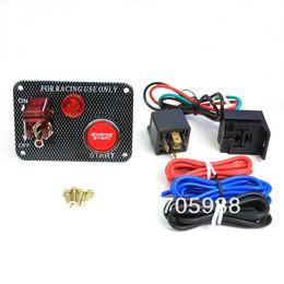 Wholesale Engine Start Switch Panel - Switch kit Carbon Fibre Ignition Toggle Switch Engine Start Push Starter Button Panel Kit