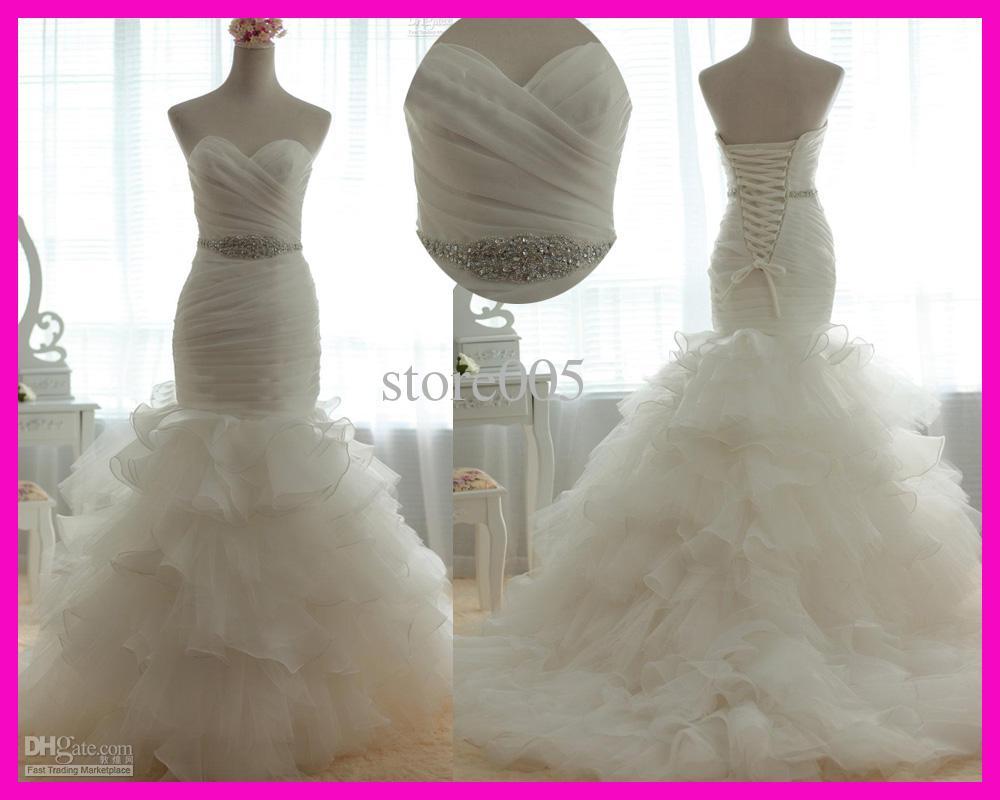 2016 Real Photo Ivory Sweetheart Belt Mermaid Ruffles Bridal Wedding Dresses Gowns Organza Lace Up Back Rhinestone W1748 Vintage Style