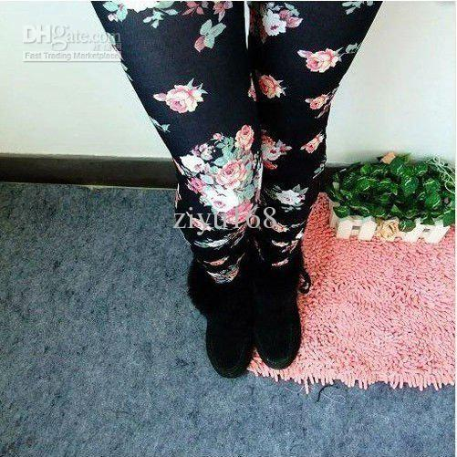 Style Imiation Rose Leggings For Women Jeans Lady Tights Material Black Apricot Pants