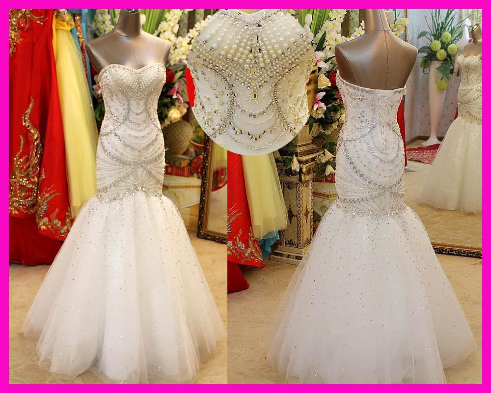 Strapless Mermaid Wedding Gown: Luxury Strapless Crystals Pearls Floor Length Corset