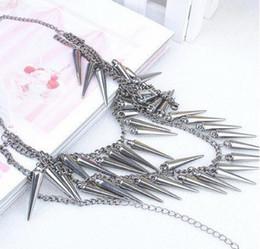 Wholesale Style Bib Necklace - 2013 Cool Punk Style Punk choker Layers Fringe Spike Rivets Choker Bib collar Necklace 10pcs lot