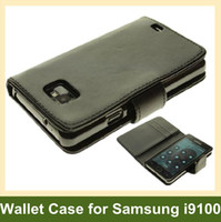 De gros porte-monnaie Cas pour S2 i9100 PU Leather Flip case for Samsung Galaxy s2 i9100 10pcs/lot