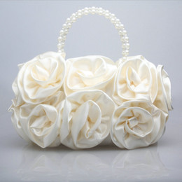 Wholesale Satin Roses Handbag - Wholesale - Ladies Satin Rose Clutch Wedding Party Handbag Evening Flower Bag Choose Colours