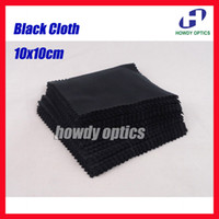 Wholesale Clean Eyeglass Lens - Free Shipping Black 10x10cm Sunglass Lens Phone MP4 MP5 Small Size Eyeglasses Microfiber cleaning cloth