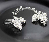 Wholesale butterfly hair comb wedding online - bridal double butterfly pearl hairpin crystal wedding hair accessory buds head tassel combs