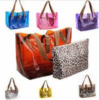 Wholesale Selling Transparent Bag - Korean Fashion summer best selling beach bags transparent shoulder bag with small leopard bag #5125