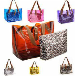 Wholesale Selling Transparent Bag - Korean Fashion summer best selling beach bags transparent shoulder bag with small leopard bag #5125