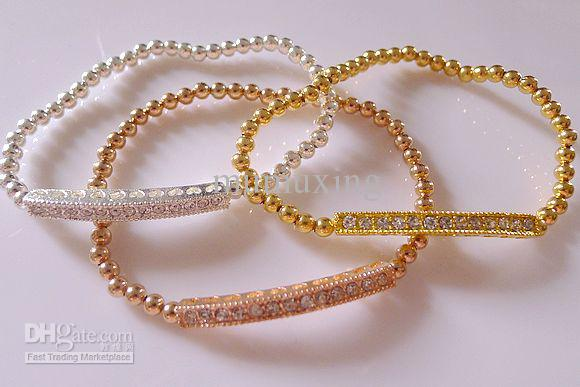 Gold Silver Rose Gold Beaded Tube Bar Connector Bracelet Beads