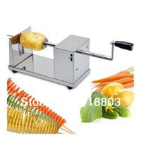 spiralschneider freies verschiffen großhandel-Kostenloser Versand Manuelle Edelstahl Gemüse Französisch Fry Twisted Kartoffelschneider Tornado Kartoffel Spirale Kartoffelschneider