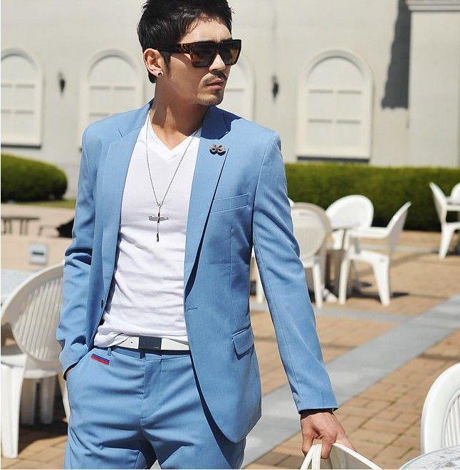 Best Custom Made Light Blue Fashion 1 Button Men's Suits Wedding ...