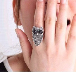 Wholesale Bronze Owl Ring - Vintage Bronze Silvery Cute Big Eyes Owl Adjustable Ring Black Eye Alloy Finger Ring 10pcs lot
