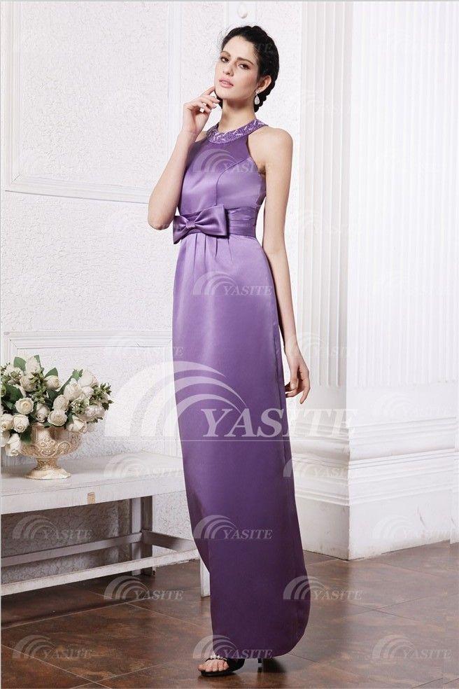 2013 Hotsale Latest Style Elegant Jewel Sweep Ruffle And Bowknot Flower Charmeuse Evening Dress