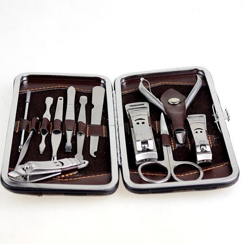 12 pçs / set profissional de Metal ferramentas de manicure Nails Art Manicure Set Aço Carbono Manicure Nail Art Kit