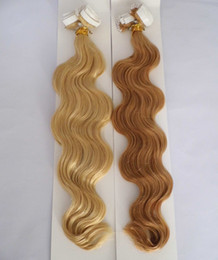 """Wholesale Skin Weft Hair Extensions Wholesale - MIRACLE Free shipping Indian remy hair tape Skin Weft Tape in Hair Extensions 100g 40pcs 18"""" 20"""" 22"""" 24"""" #22 wavy"""