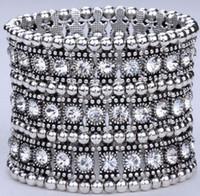 Wholesale Clear Crystal Stretch Bracelet - Hot ! 1Pcs Luxury Antique 1 Row 2 Row 3 Row Etc. Antique silver Clear Crystal Silver Tone Stretch Bracelet