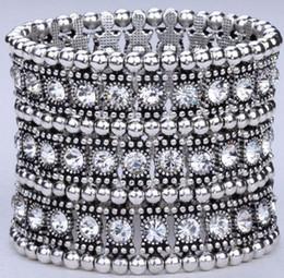 Wholesale antique bangle bracelets - Hot ! 1Pcs Luxury Antique 1 Row 2 Row 3 Row Etc. Antique silver Clear Crystal Silver Tone Stretch Bracelet