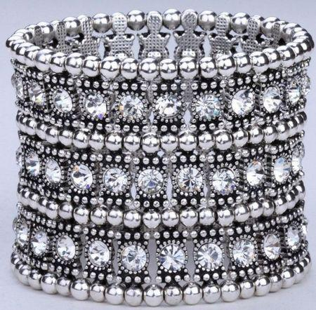 Hot ! 1Pcs Luxury Antique 1 Row 2 Row 3 Row Etc. Antique silver Clear Crystal Silver Tone Stretch Bracelet