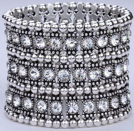 Hot ! Luxury Antique 1 Row 2 Row 3 Row Etc. Antique silver Clear Crystal Silver Tone Stretch Bracelet