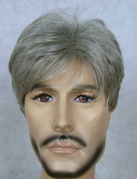 Wholesale Short Gray Wigs - Wholesale cheap NEW pretty men's short Gray full wig +Hairnet