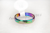 Wholesale Free Ring Patterns - Free Shipping Stainless Steel Rings Arc Rainbow Colors Mixed Pattern Narrow 4mm Band Sizes 6-11 Color Galore Brand New R249 (50 Piece lot)