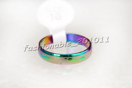 Wholesale Arc Shipping - Free Shipping Stainless Steel Rings Arc Rainbow Colors Mixed Pattern Narrow 4mm Band Sizes 6-11 Color Galore Brand New R249 (50 Piece lot)