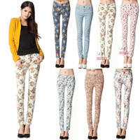Wholesale New Ladies Vintage Floral Print Pencil Pant Skinny Stretch Tight Legging Trousers Pant Freeshipping