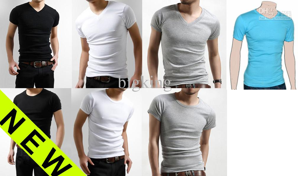 New Men'S Slim Fit V Neck T Shirt Short Sleeve Muscle Tee Printed ...