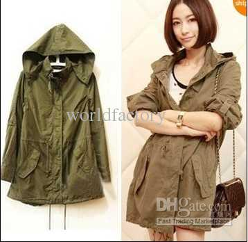 Fashion Womens Army Green Military Parka Button Trench Hooded Coat ...