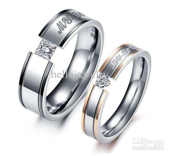 Lover Rings My Love Titanium Crystal Couple Engagement Ring Mix Size