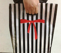 "Wholesale Stripes Plastic Bag - fashion 100pcs black white stripes 30*40cm(11.8""*15.7"") Clothes Plastic Gift bags handbag bag Pouch"