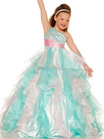 Wholesale Ball Dresses Girl One Strap - 2015 Mint Pink Little Girls Pageant Dresses Sequined Bodice Single Strap Pageant Flower Girls Dresses One Shoulder Communion Dress 4775S