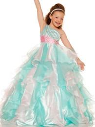 Wholesale Bodice Dress Mint - 2015 Mint Pink Little Girls Pageant Dresses Sequined Bodice Single Strap Pageant Flower Girls Dresses One Shoulder Communion Dress 4775S