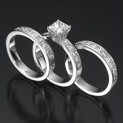 princess cut diamond engagement ring wedding bridal set 305 ct white gold - Princess Cut Wedding Ring Sets