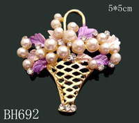 Wholesale Mexican Painted Plate - Wholesale hot selling Gold plating Oil painting Zinc alloy rhinestone girl flowers Brooches Free shipping 12pcs lot mixed color BH692