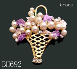 Wholesale Wedding Oil Paintings - Wholesale hot selling Gold plating Oil painting Zinc alloy rhinestone girl flowers Brooches Free shipping 12pcs lot mixed color BH692