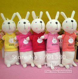 Wholesale Metoo Rabbit Pencil - Freeshipping!! Cute Metoo pen bag, flannel doll, rabbit pencil bag ,Pencil Case(100piece\l