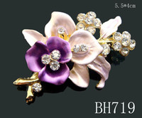 Wholesale Asian Black Painting - Wholesale hot sell Gold plating Oil painting Zinc alloy rhinestone girl flowers Brooches Free shipping 12pcs lot mixed color BH719