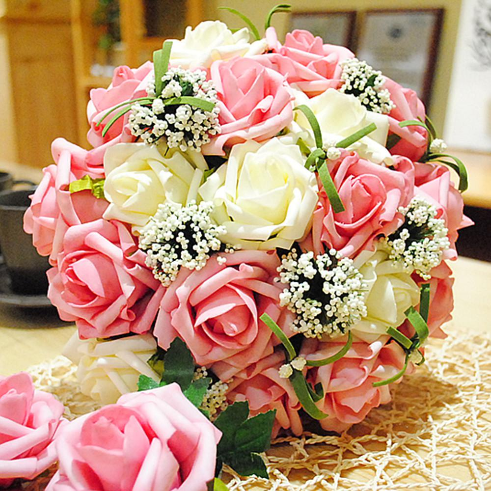 Wedding centerpieces bouquet sweetheart rose silk flower for Artificial flower for wedding decoration