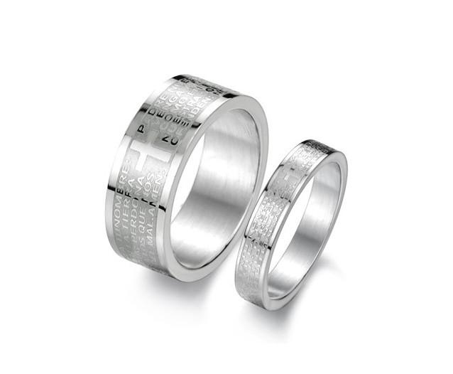Cross Bible Couple Ring Anillo del Amante de Titanio Mix Size Lover Stainless Steel lover lover Jewelry