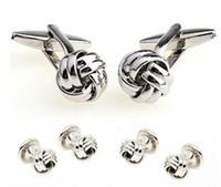 Wholesale Tuxedo Studs - Novelty Engraved Plating Knot Gold Cufflinks Tuxedo Stud Sets AG6647&AG0186
