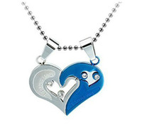 Wholesale China Love Couples - Couple I Love You Heart Shape Lover Titanium Steel Pendant Necklace Chain Jewelry Gift